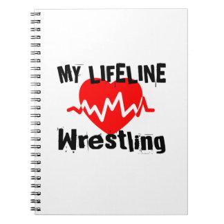 My Life Line Wrestling Sports Designs Spiral Notebook