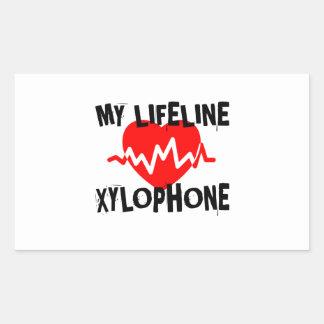 MY LIFE LINE XYLOPHONE MUSIC DESIGNS RECTANGULAR STICKER