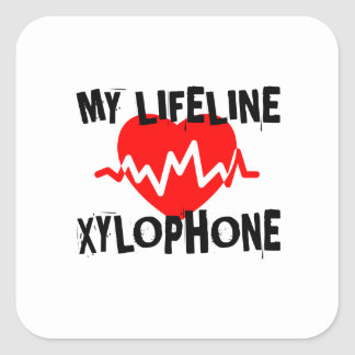 MY LIFE LINE XYLOPHONE MUSIC DESIGNS SQUARE STICKER