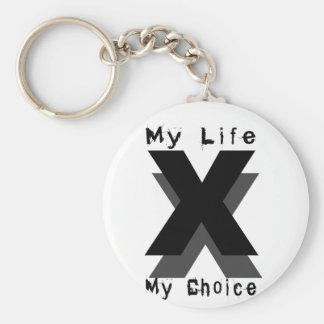 my life my choice basic round button key ring