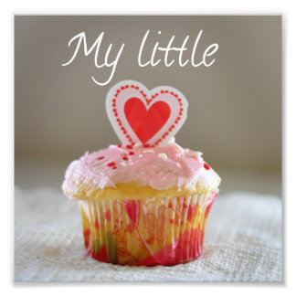 My Little Cupcake Heart Love You Square Print Art Photo