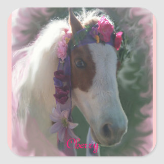 My Little horse Cherry w/flowers square sticker