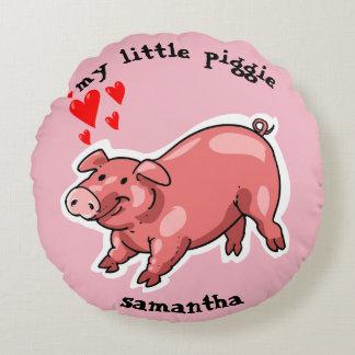 my little piggie funny pig cartoon customizable round cushion
