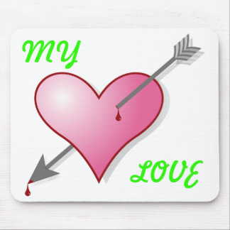 My Love Pink Heart Arrow Mousepad