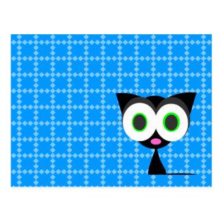 My Lucky Black Cat Blue Patterned Postcard