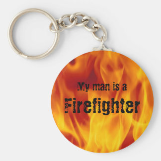 My man is a firefighter - Button Key Chain