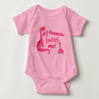 My Meemaw Loves Me Dinosaur Baby Bodysuit