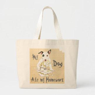 My Miniature Bull Terrier Ate My Homework Large Tote Bag