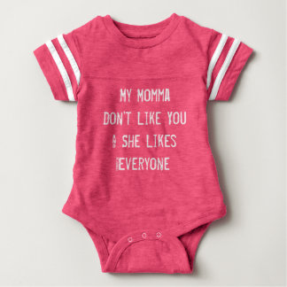 My momma don't like you baby girls outfit pink baby bodysuit