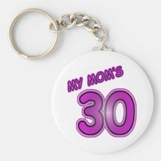 My Mom's 30 Basic Round Button Key Ring
