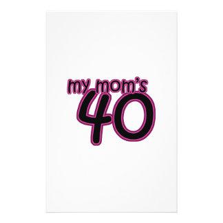 My Mom's 40 Custom Stationery
