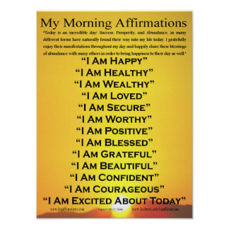 "My Morning Affirmations Poster 12"" x 16"""