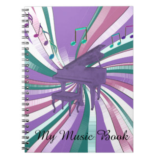 My Music Purple Piano Rainbow Notes Music Notebook