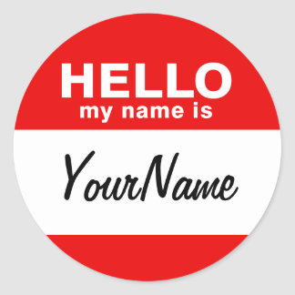 My Name Is Blank Custom Nametag Red (pack of 6/20) Round Sticker