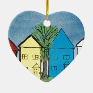 My Neighborhood and Fire Truck Ceramic Heart Decoration
