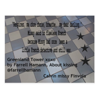 My novel, Greenland Tower xoxo on a postcard. Postcard