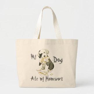 My Old English Sheepdog Ate My Homework Large Tote Bag