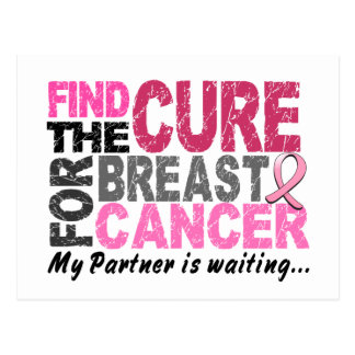 My Partner is Waiting Breast Cancer Postcard