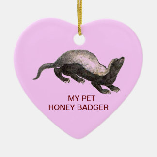 MY PET HONEY BADGER CERAMIC HEART DECORATION