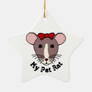 My Pet Rat w Red Bow Christmas Ornaments