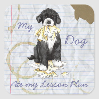 My Portuguese Water Dog Ate My Lesson Plan Square Stickers