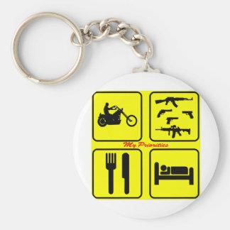 My Priorities Motorcycle Guns Eat Sleep Keychain