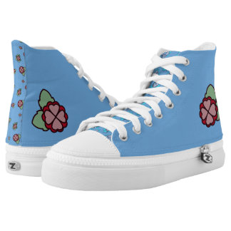 My Ragdoll ~ Pink Hearts Floral on Blue High Tops