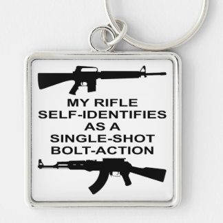 My Rifle Self Identifies As A Single Shot Bolt Act Silver-Colored Square Key Ring