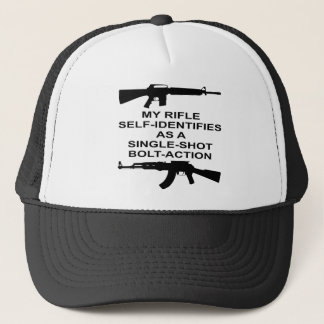 My Rifle Self Identifies As A Single Shot Bolt Act Trucker Hat