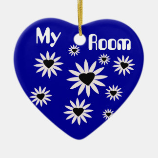 My Room, black & white flowers with hearts on blue Ceramic Heart Decoration