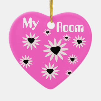 My Room, black & white flowers with hearts on pink Ceramic Heart Decoration