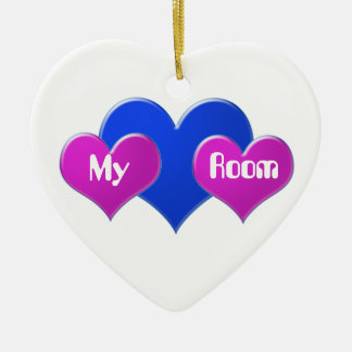 My Room, pink & blue hearts on heart ornament