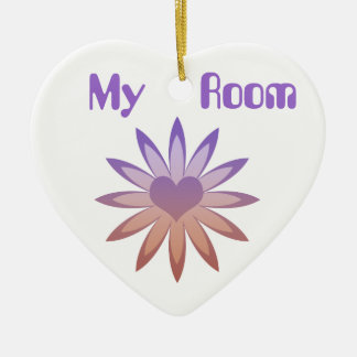 My Room, purple & tan flower with heart Ceramic Heart Decoration