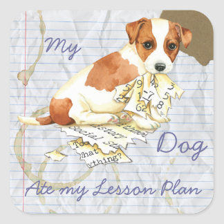 My Russell Terrier Ate My Lesson Plan Square Sticker