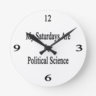 My Saturdays Are For Political Science Wall Clock
