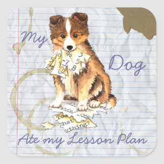My Sheltie Ate My Lesson Plan Square Sticker