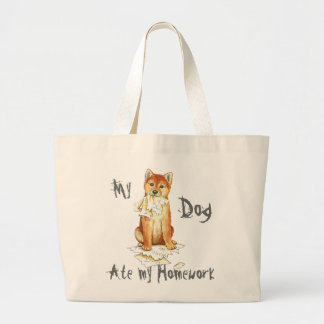 My Shiba Inu Ate My Homework Large Tote Bag