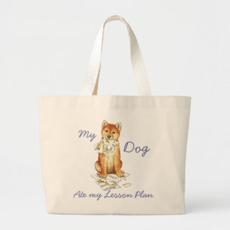My Shiba Inu Ate My Lesson Plan Large Tote Bag