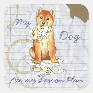 My Shiba Inu Ate My Lesson Plan Square Sticker