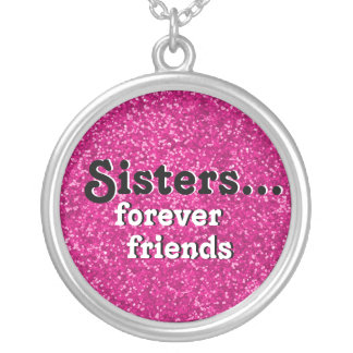 My Sister Best Friend Ever | Pink Glitter Look Silver Plated Necklace