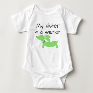 My Sister is a Wiener (Dog) One Piece Baby Bodysuit