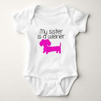 My Sister is a Wiener (dog puppy) Baby Bodysuit