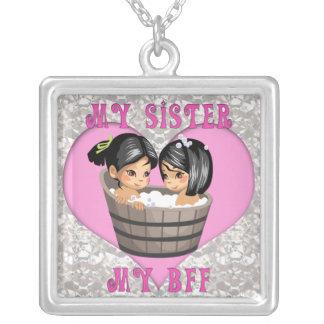My Sister my BFF Heart on Diamonds  Necklace