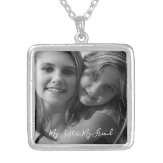 My Sister, My Friend Photo Silver Plated Necklace