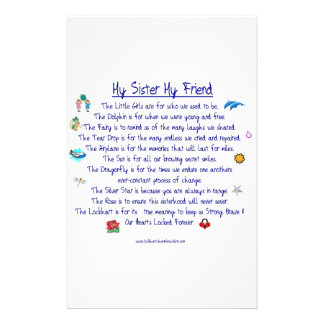 MY SISTER My Friend poem with graphics Custom Stationery