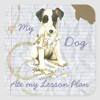 My Smooth Fox Terrier Ate My Lesson Plan Square Sticker