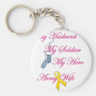 My Soldier Army Wife Basic Round Button Key Ring