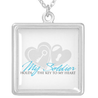 My Soldier Holds the Key to my Heart Silver Plated Necklace