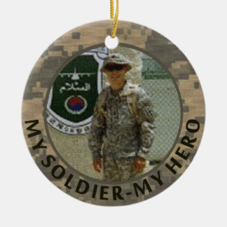 My Soldier My Hero Military Photo Custom Date Ceramic Ornament