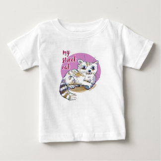my sweet cat cartoon style illustration baby T-Shirt